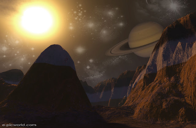 3d mountains with planets wallpaper