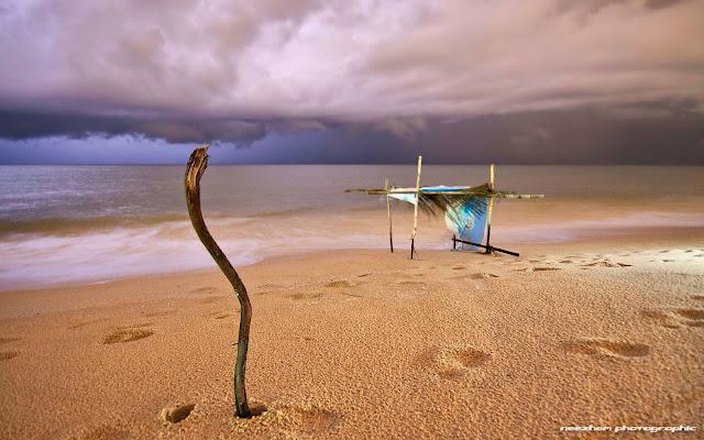 Gambar kayu menongkat awan di pantai Telipot - Night shot