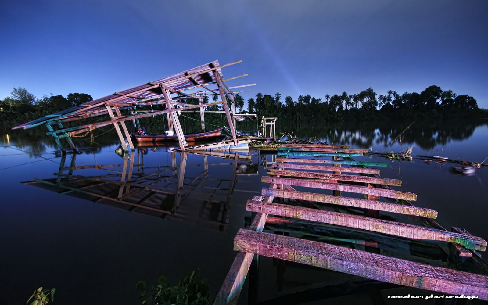 Dilapidated bridge by the river of Kampong Seberang Tok Chik
