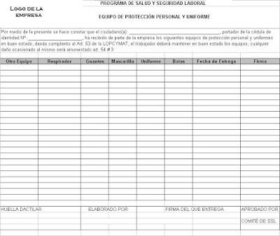 Procedimiento para la entrega de Equipos de Protección Personal. 1