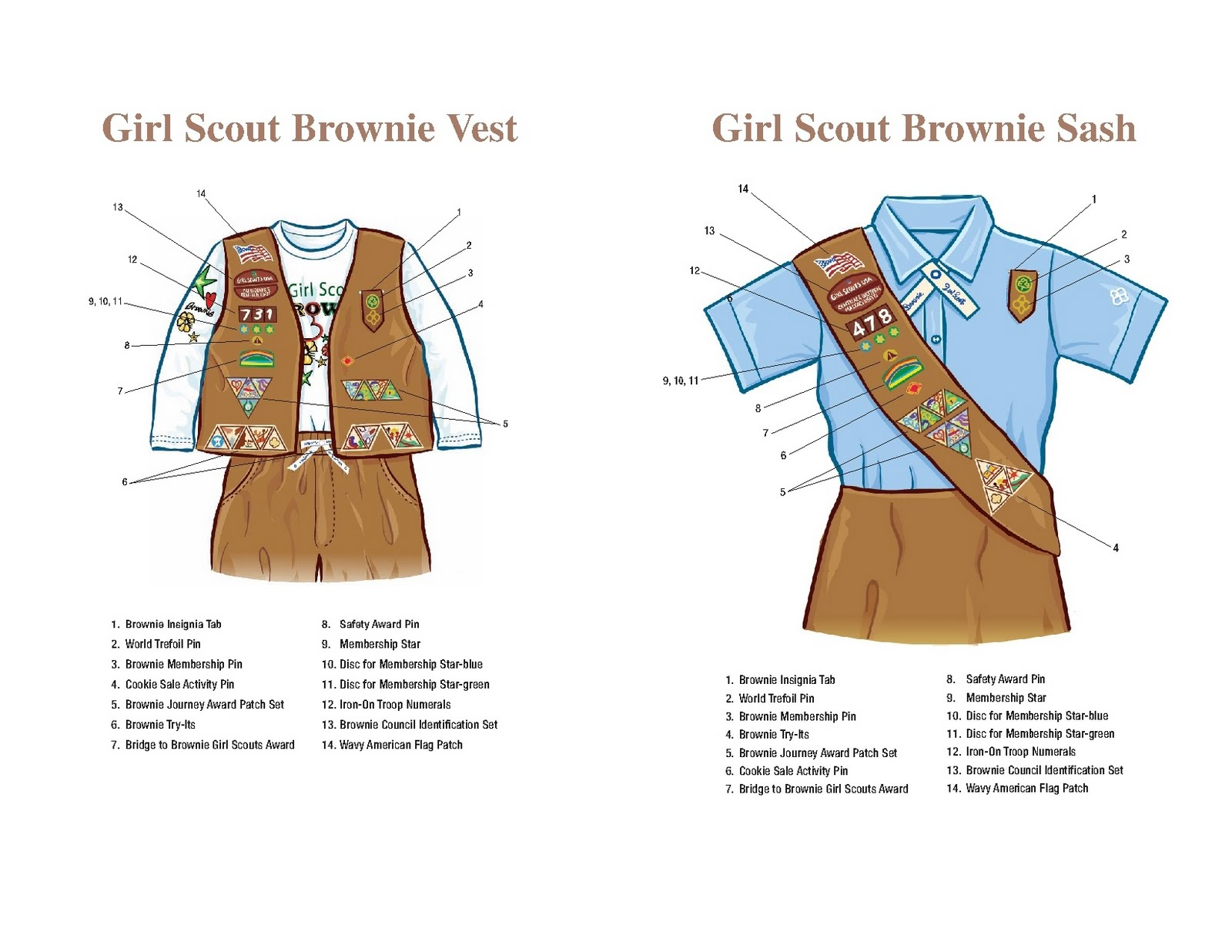 Brownie Sash Diagram 12v Wiring For Trailer Girl Scout Troop 1905 And Vest