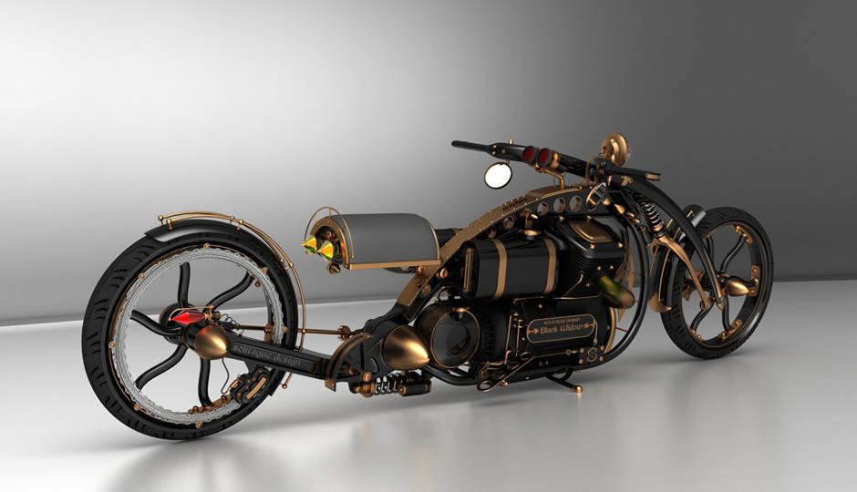 Motorcycle Style Steampunk Black Widow Chopper Garage Car