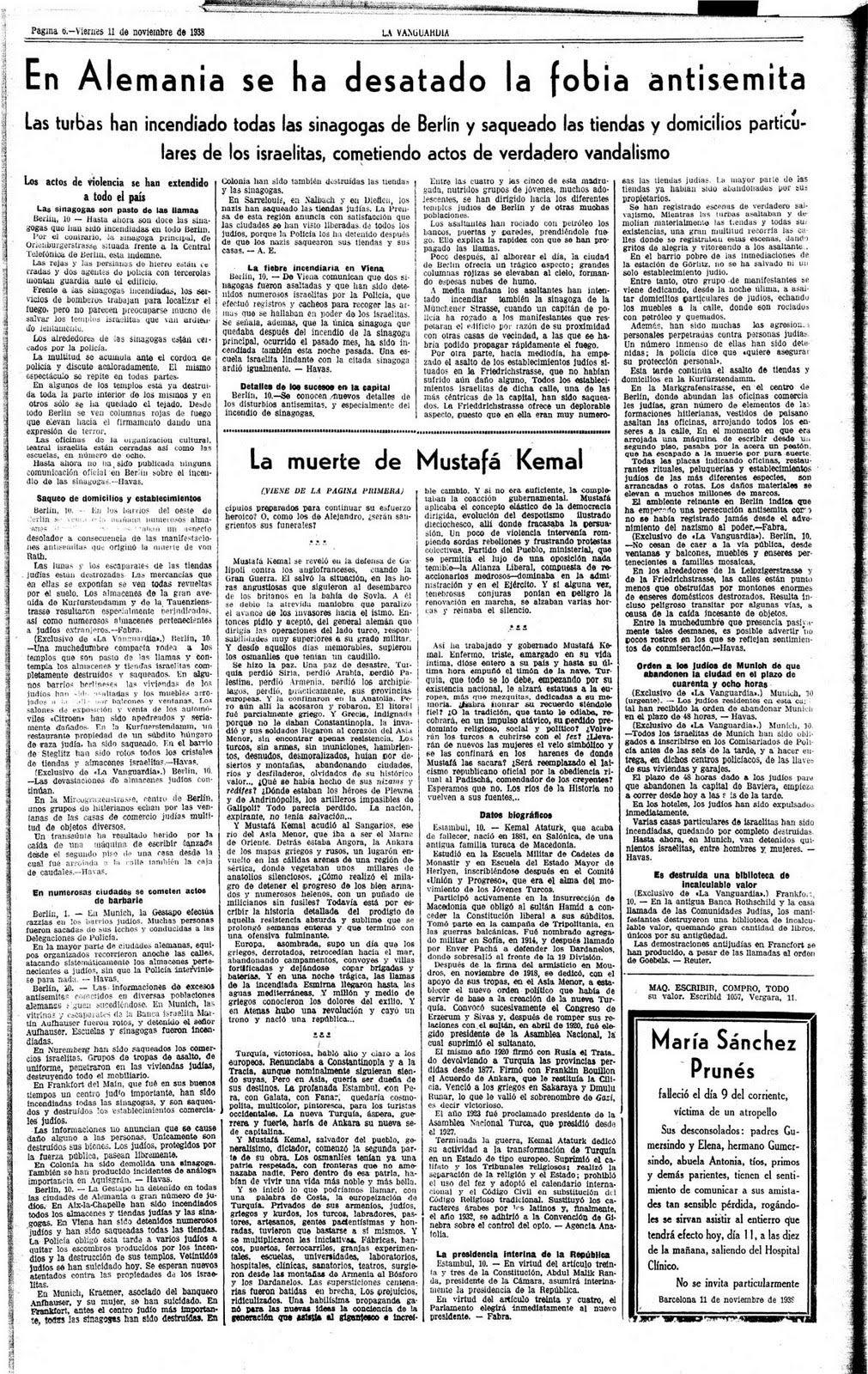 Resultado de imagen de periodico noche cristales 1938