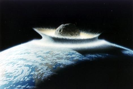 Imagen que representa un meteorito de muy grandes dimensiones, decenas o tal vez más de cien kilómetros de radio, impactando contra la tierra