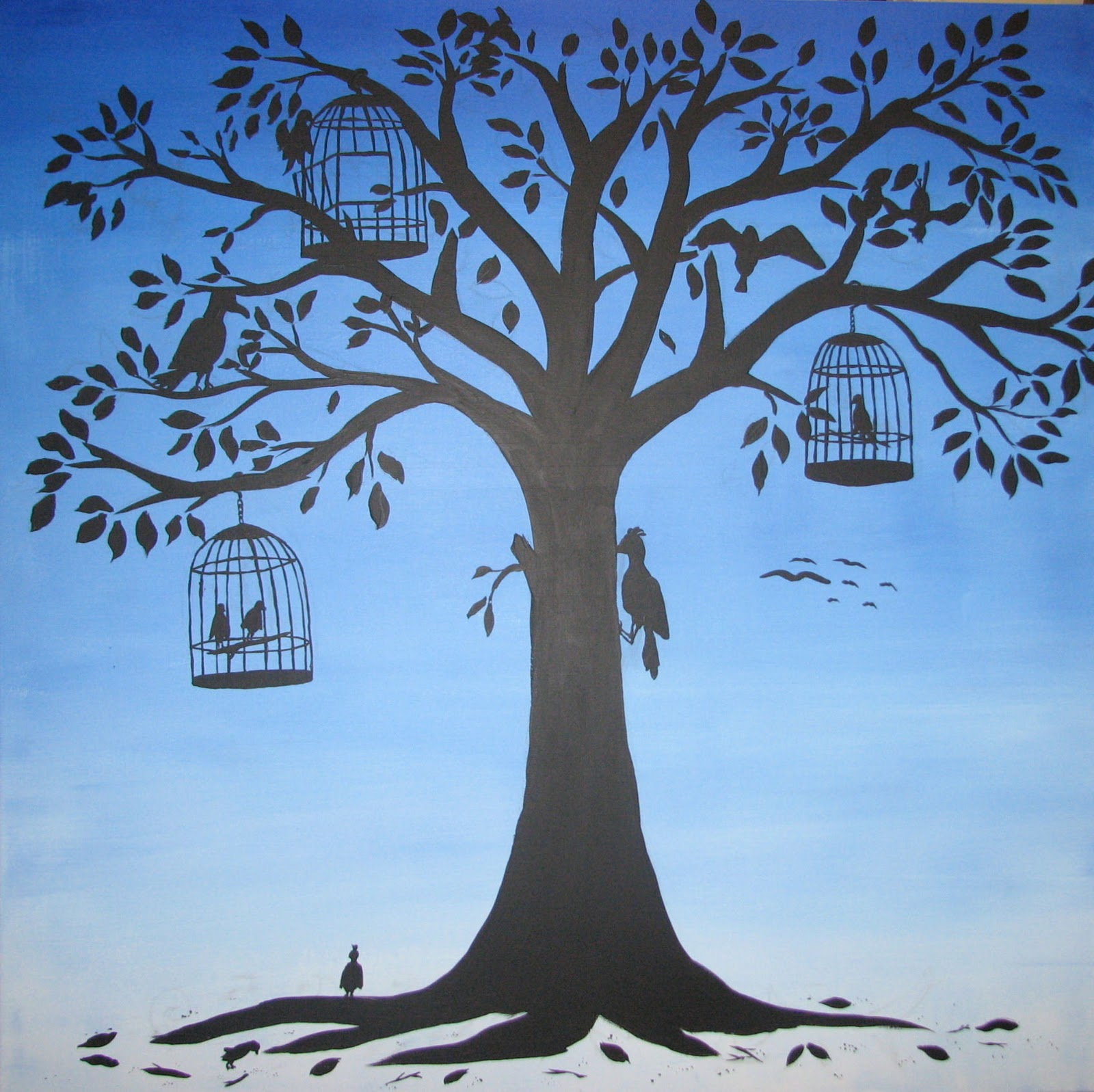 Arty Crafty Studio Whimsical Painting Bird Tree