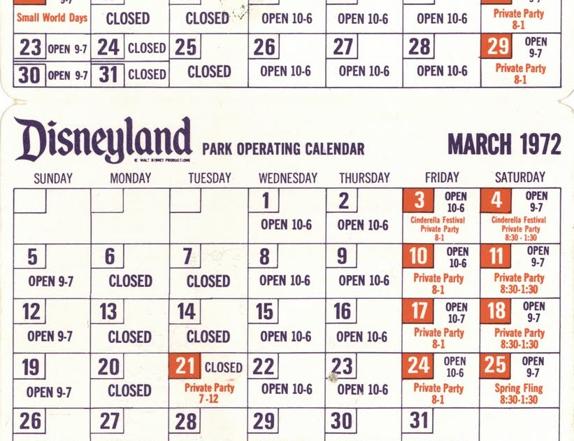 Vintage Disneyland Tickets Disneyland Pocket Calendar December