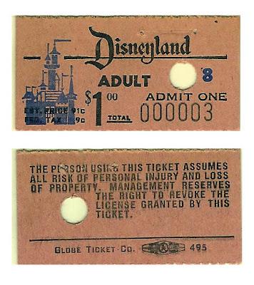 Vintage Disneyland Tickets: 1955 Disneyland General