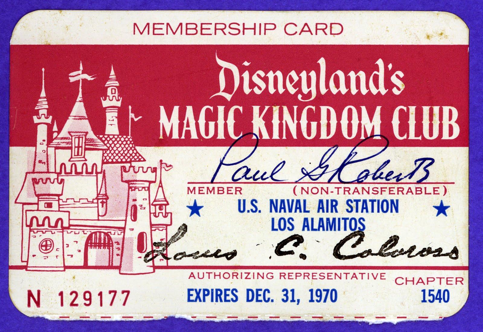 Magic Kingdom Club Membership Card   1970  Club Membership Card Template