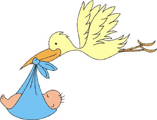 Dibujo De Una Cigueña Con Bebé Niña