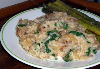 Risotto with Italian Sausage, Caramelized Onion, and Bitter Greens