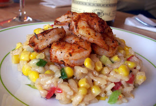 Blackened Shrimp with Monterey Jack, Corn, and Roasted Red Pepper Risotto