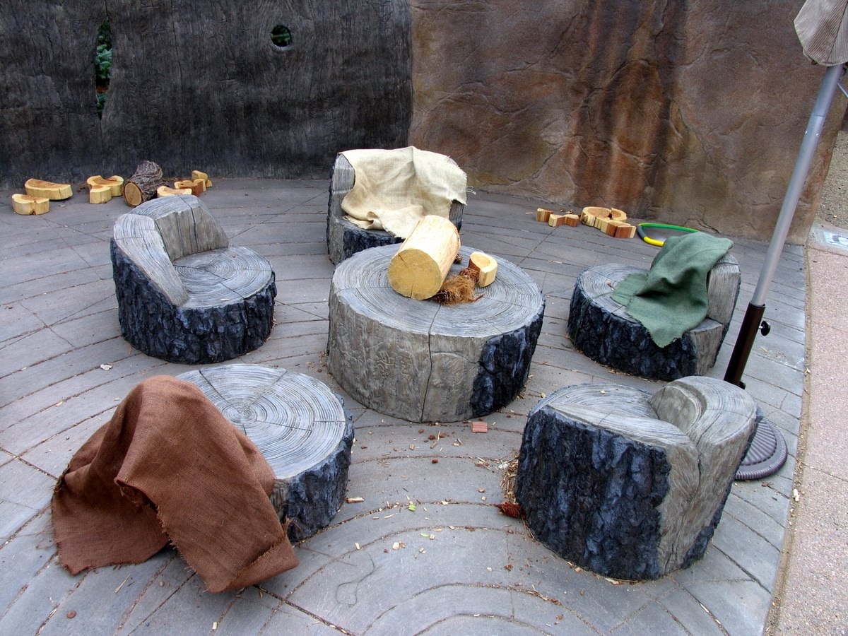 Tree Stump Chairs Wicker Indoor Chair Cushions The Hardscaper Mordecai Children 39s Garden Grand Opening