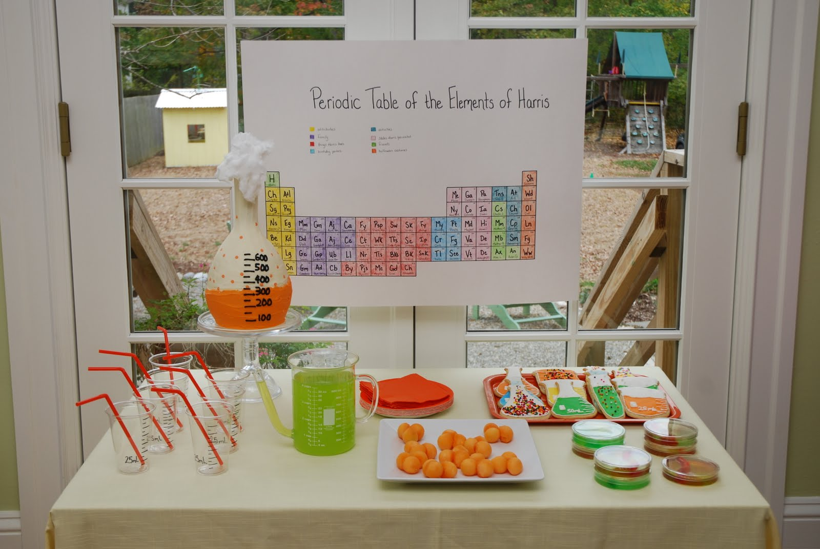 The princess and the frog blog science party part 1 is the cake and the food this year we kept it simple but fun harriss periodic table of the elements of harris was the perfect backdrop for the food gamestrikefo Choice Image