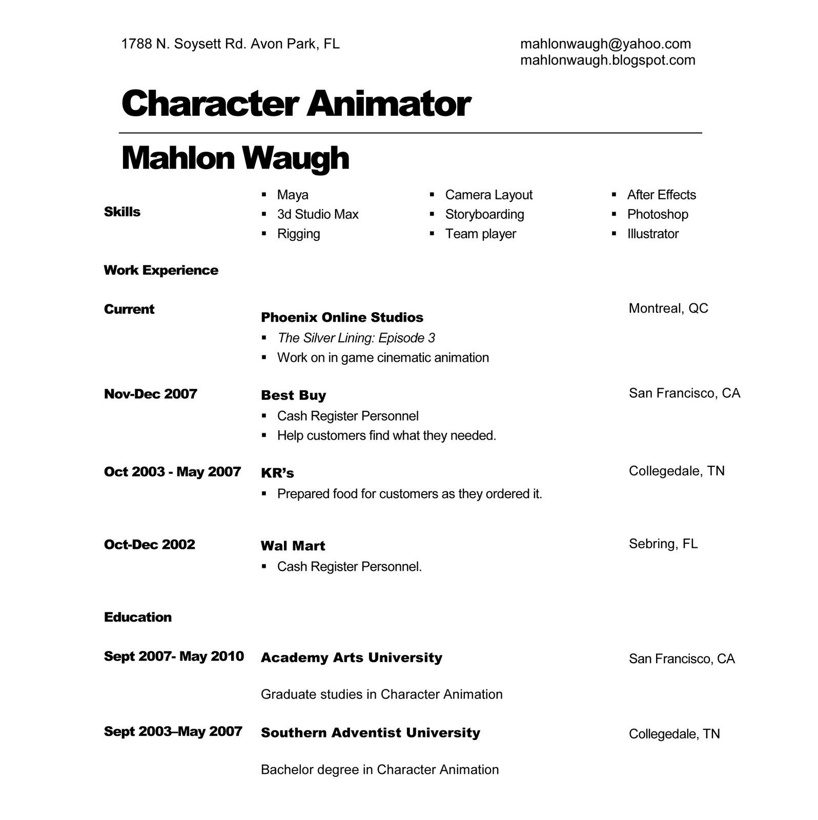 Animators resume samples