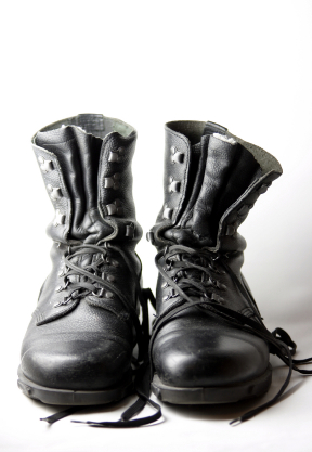 Frayed Threads Combat Boots