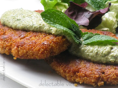 Spicy Cous-Cous Patties with Mint and Fennel Pesto