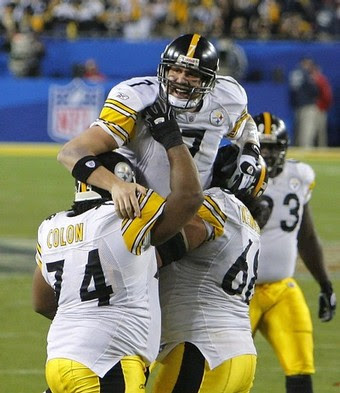 Pittsburgh Steelers celebrate at the Superbowl