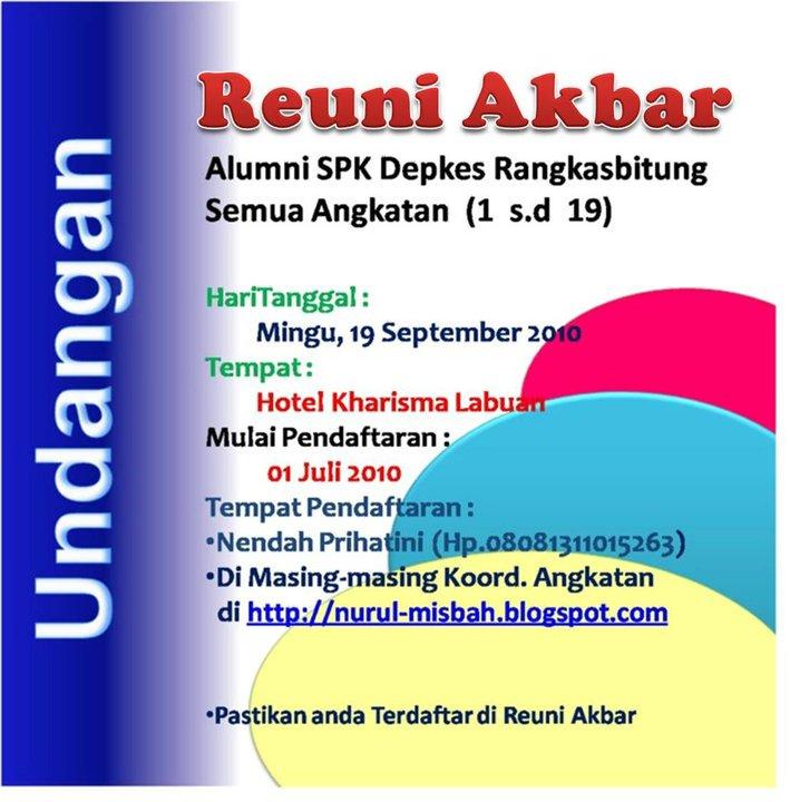 Reuni Akbar Alumni Spk Depkes Rangkasbitung