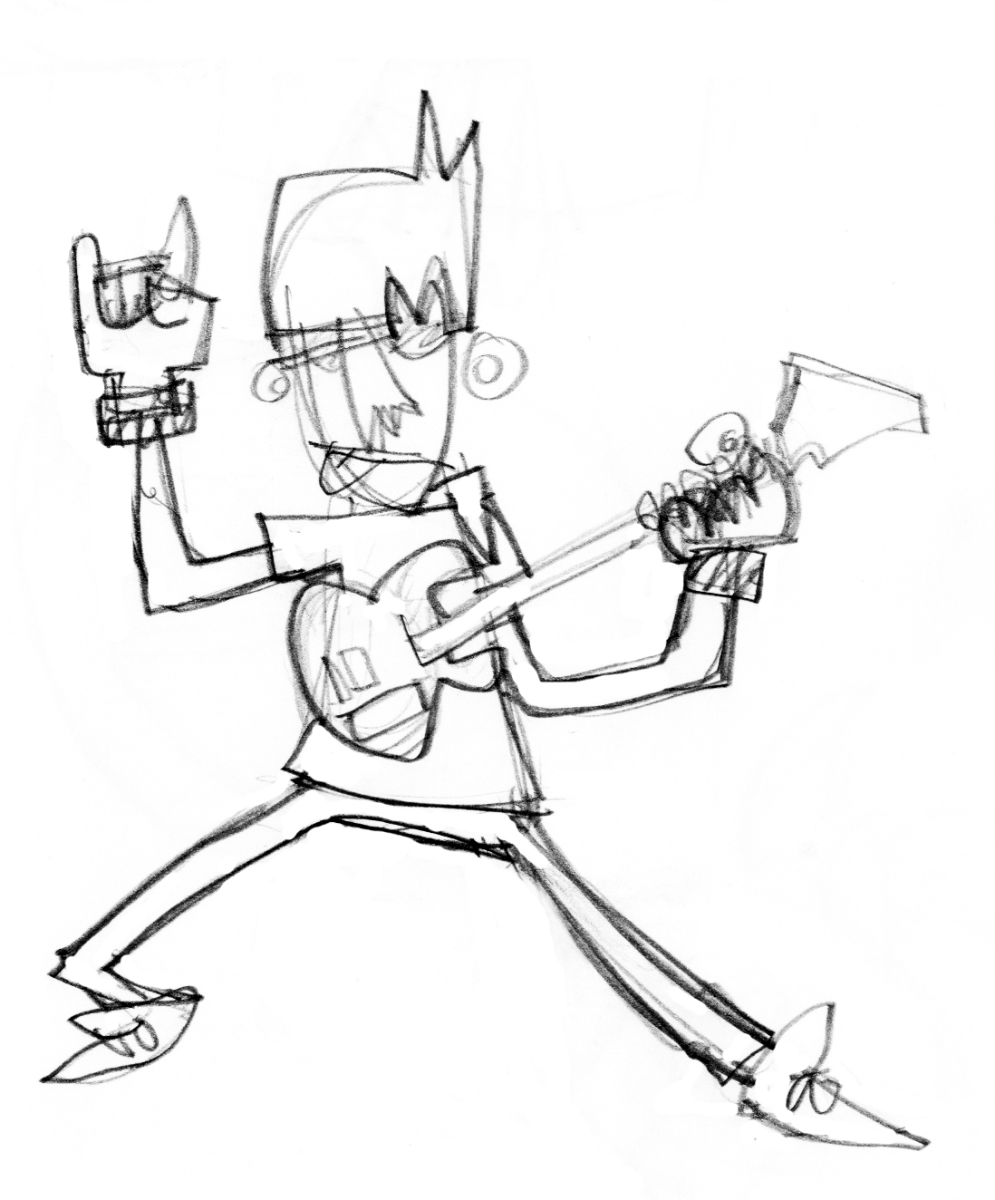 Guy with Guitar Sketch outline