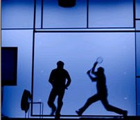 The squash scene in Water, at the Lyric Theatre, Hammersmith