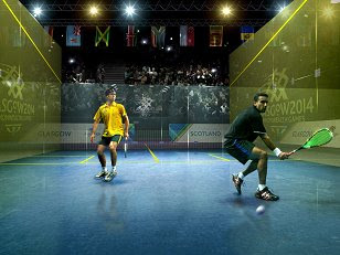 Artist's impression of squash at the 2014 Commonwealth Games