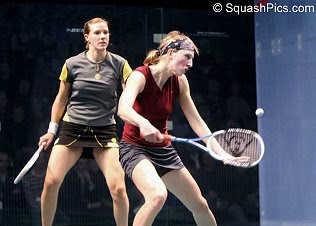Alison Waters and Laura Lengthorn-Massaro in the final of the British National Championships 2008