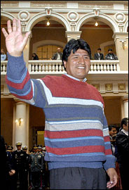 Evo Morales - with jumper