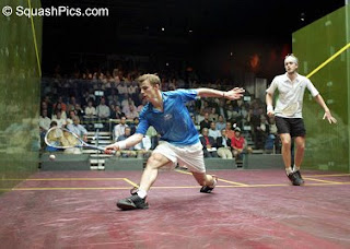 Nick Matthew and James Willstop compete in the final of the 2007 US Open in New York