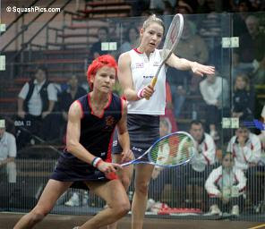 Vicky Botwright of England takes on Annelize Naude of the Netherlands in the 2006 World Team Championships