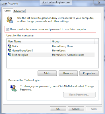 Windows 7 User Account Window
