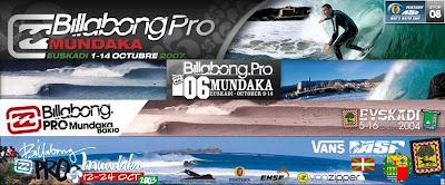 carteles del billbong pro mundaka desde el 2003 hasta este año