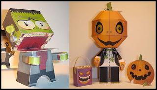 Papercraft imprimible y recortable de Pumpkin y Frankenstein. Manualidades a Raudales.