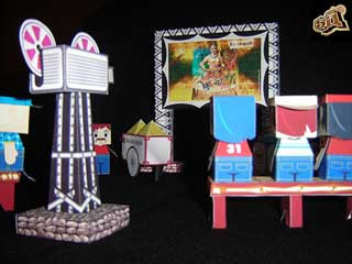 Outdoor Film Screening Papercraft Diorama