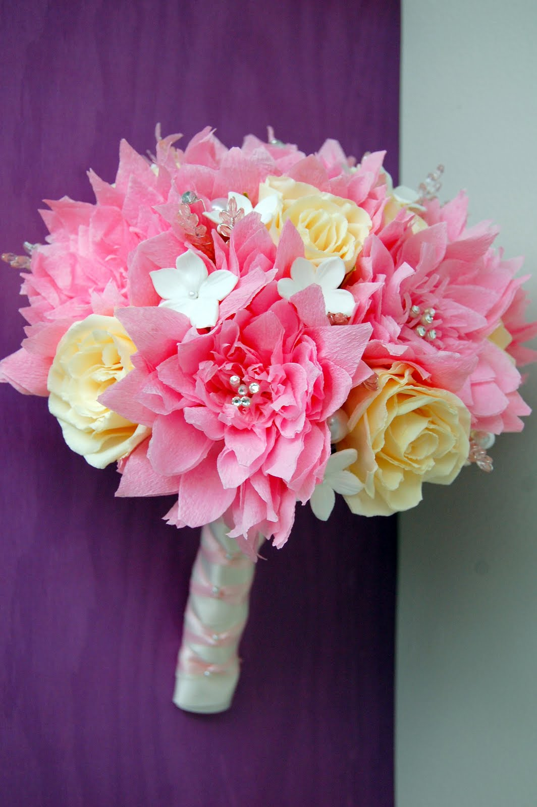 pink dahlia paper flower wedding bouquet handmade paper flowers by maria noble. Black Bedroom Furniture Sets. Home Design Ideas