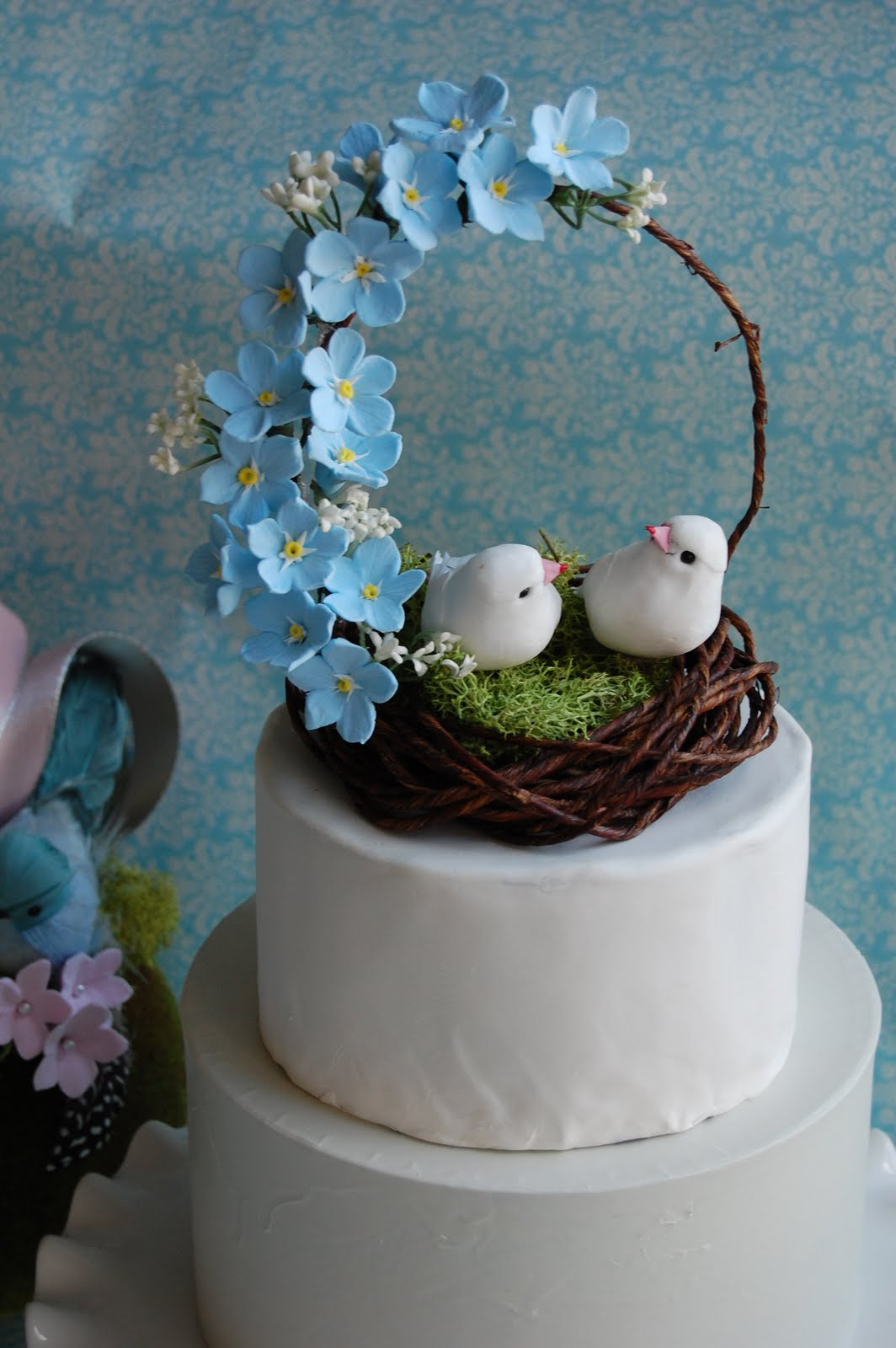 blue birds wedding cake topper handmade forget me nots wedding cake topper bird nest in 11977