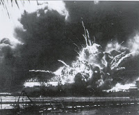 Explosion of the forward magazine of the USS Shaw Dec 7, 1941