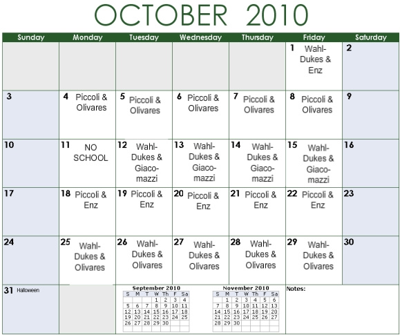Palma carpool driving schedule for Carpool calendar template