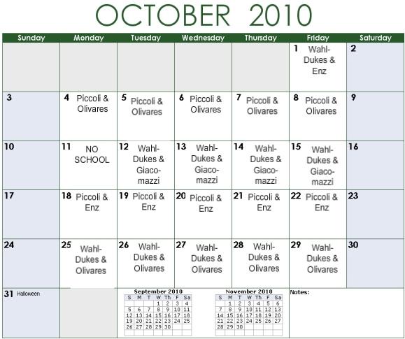 Palma Carpool Driving Schedule Calendar Template