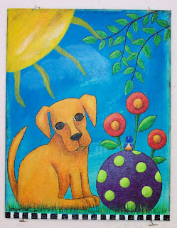 acrylic puppy painting