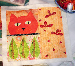 fabric collage cat flowers cotton batting stitch embroidery