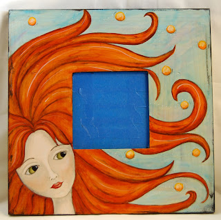 painting paint acrylic face girl mirror frame original art
