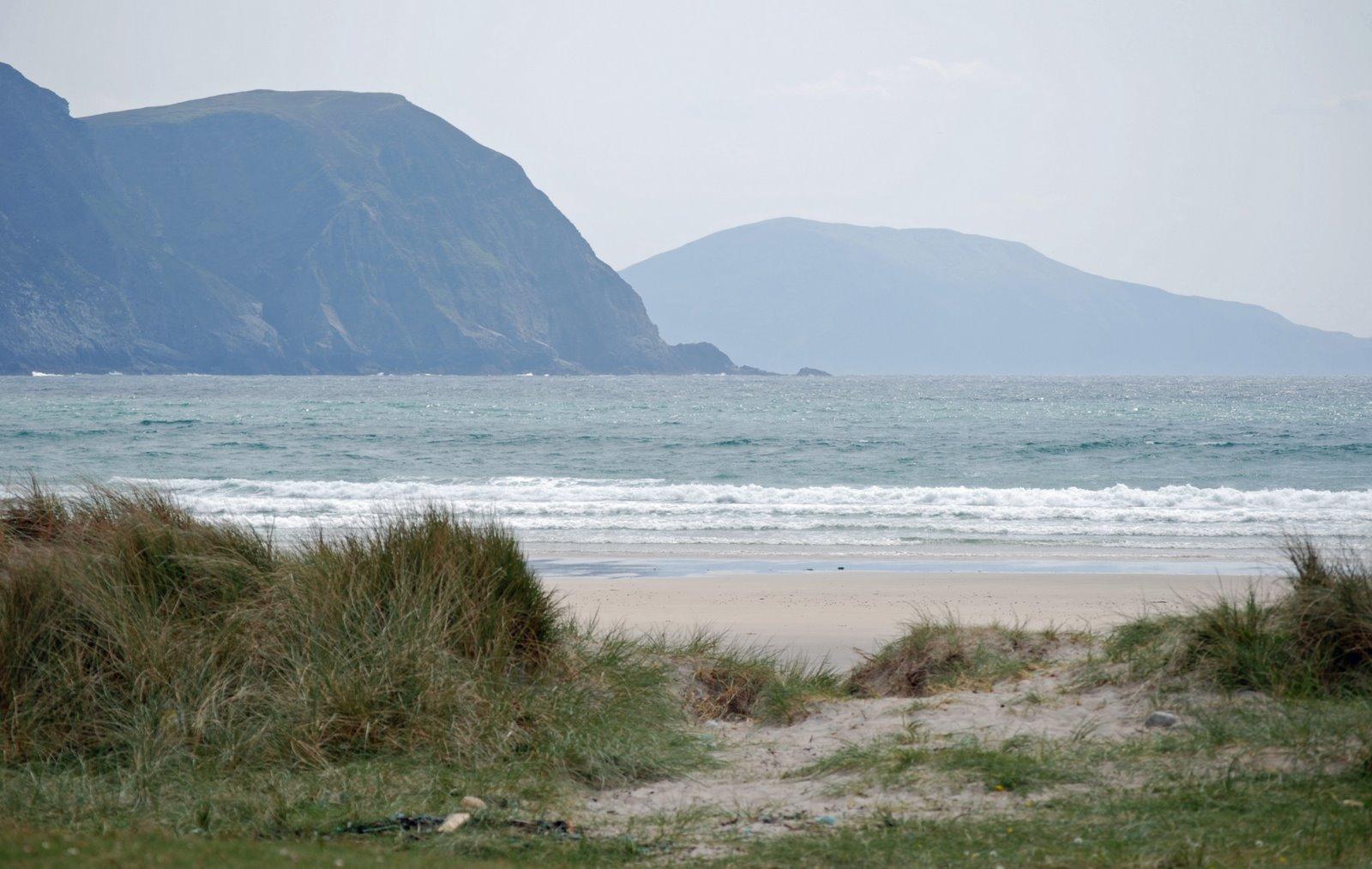 blue flag beach, trawmore strand at keel, achill island