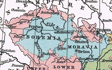 Map showing the Sudetenland regions of the Czechoslovakia in pink