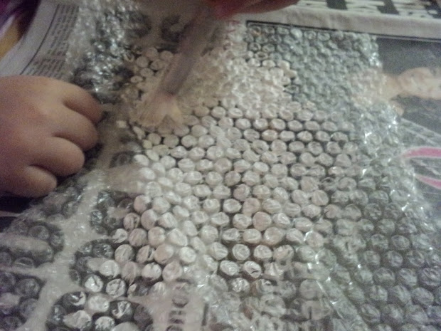 Little Learning Two Bubble Wrap Snow Paintings