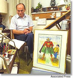 Martin Nodell en su estudio en 1987