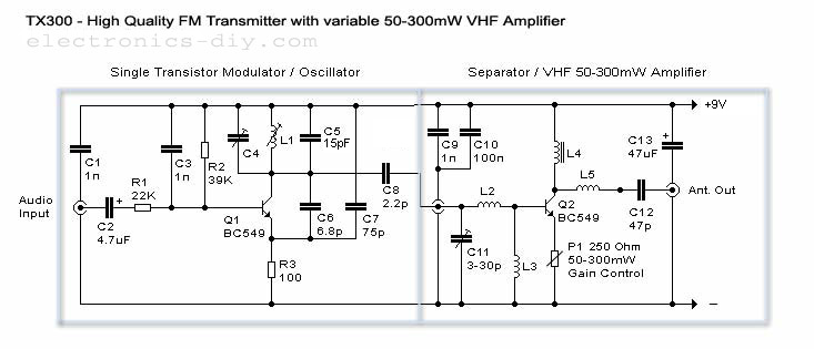 50300mW FM Transmitter With TX300  Electronic Circuit