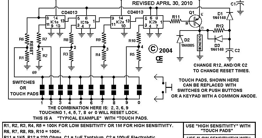 Combination Lock With Auto Reset Electronic Circuit