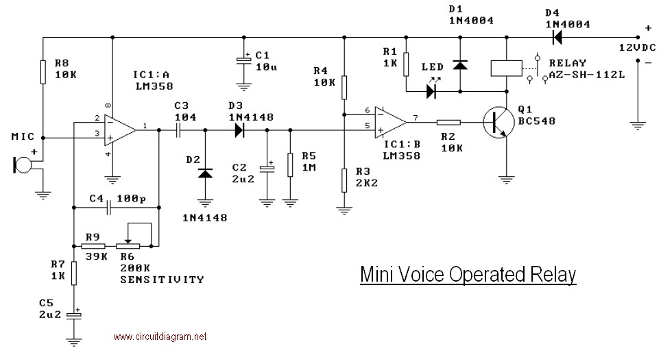 Mini Operated Voice Relay Schematic