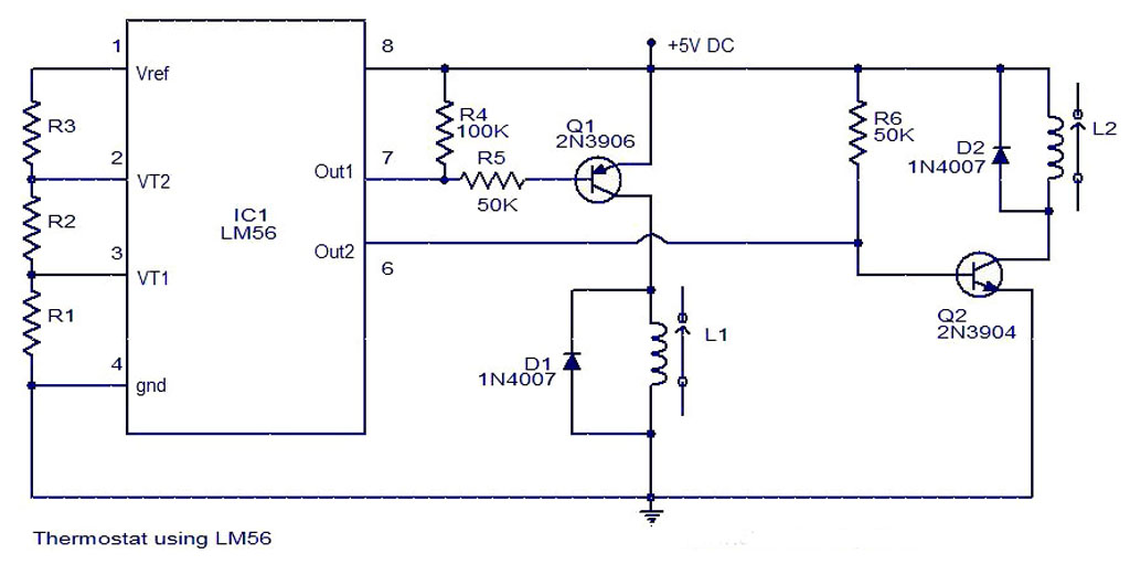 LM56 Thermostat Project Circuit Diagram  Electronic