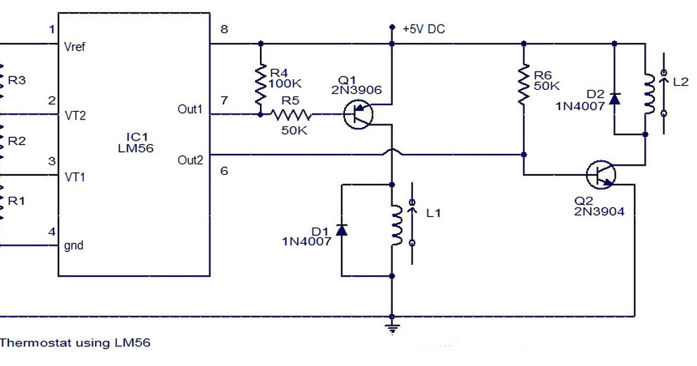lm56 thermostat project circuit diagram electronic circuit rh circuitschematic blogspot com Circuit Symbol for Thermostat Thermostat Heater Control Circuit Open
